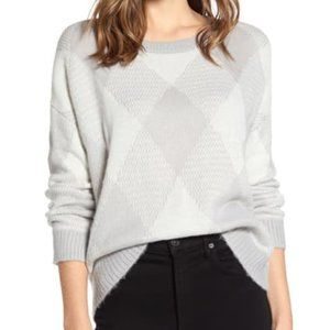 Vince Camuto Fuzzy Argyle Sweater Silver Heather S
